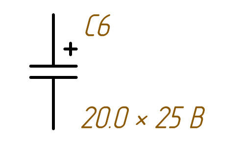 Обозначение электролитических конденсаторов в схемах